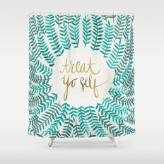 Treat Yo Self – Gold & Turquoise Shower Curtain