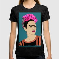 Frida Kahlo Womens Fitted Tee Tri-Black SMALL