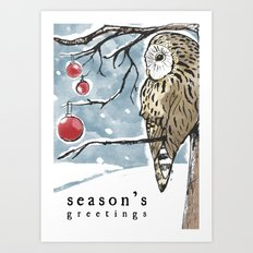 Lonely Owl Christmas Card Art Print