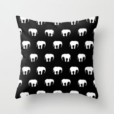 Black And White Elephants Throw Pillow