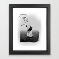 Holding Umbrella Framed Art Print
