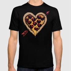 Pizza Love Black Mens Fitted Tee SMALL