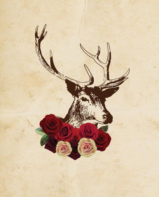 Stag, deer, flowers, vintage, roses, rustic Art Print