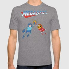 Mega Bros Mens Fitted Tee Tri-Grey SMALL