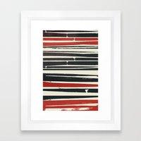 Navy Red Stripes Framed Art Print