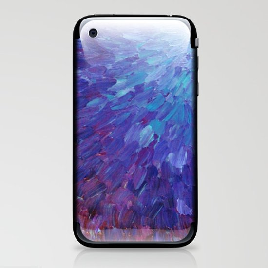 SCALES OF A DIFFERENT COLOR - Abstract Acrylic Painting Eggplant Sea Scales Ocean Waves Colorful iPhone & iPod Skin