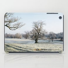 Trees in a frost covered field at sunrise. Norfolk, UK. iPad Case