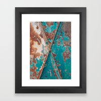 Teal and Rust Framed Art Print