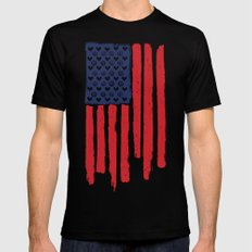 Red and Blue and White MEDIUM Black Mens Fitted Tee