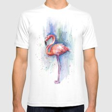 Pink Flamingo Watercolor Painting SMALL White Mens Fitted Tee