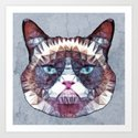 abstract grouchy cat Art Print