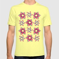 Autumn Flowers Pattern Mens Fitted Tee Lemon SMALL