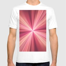 Pink Rays Abstract Fractal Art Mens Fitted Tee White SMALL