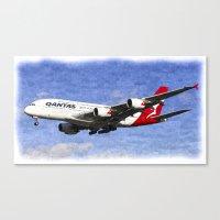 Qantas Airbus A380 Art Canvas Print
