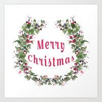 Merry Christmas Flower W… Art Print