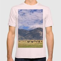 Field of Cows Mens Fitted Tee Light Pink SMALL