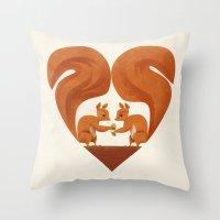 Love Heart Squirrels Throw Pillow