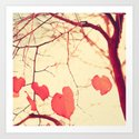 Autumn tree over yellow Art Print