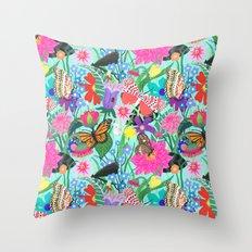 Butterflies and Moths Pattern - Blue Throw Pillow