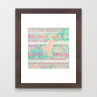 Whimsical Cat, Pink Turq… Framed Art Print