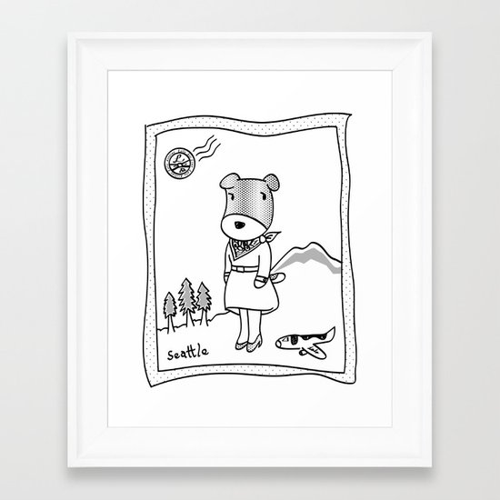 Lolo in Seattle(in her dream) Lolo the dog Framed Art Print