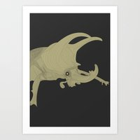 All lines lead to the...Inverted Rhino Beetle Art Print