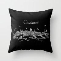 Cincinnati, Ohio City Skyline Throw Pillow