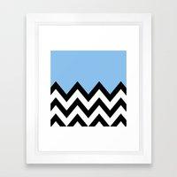 BLUE COLORBLOCK CHEVRON Framed Art Print
