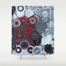 Spirals, Circles and Swirls Red Black & Grey Shower Curtain