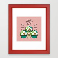 Cute Monster With Green And Brown Polkadot Cupcakes Framed Art Print
