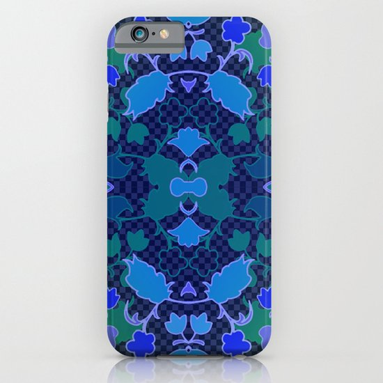 Lila's Flowers Repeat Blue iPhone & iPod Case
