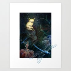 Fox Keeps Watch Through the Night Art Print