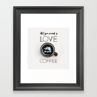 Love & Coffee Framed Art Print