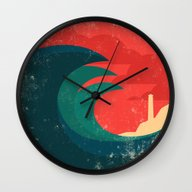 Wall Clock featuring The Wild Ocean by Budi Kwan