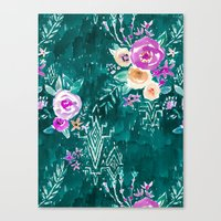 LAVISH FLORAL - EMERALD Canvas Print