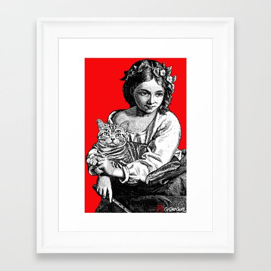 Young Girl with Cat Framed Art Print