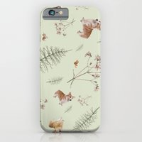 iPhone & iPod Case featuring pale green holiday corgi by threequalsquare