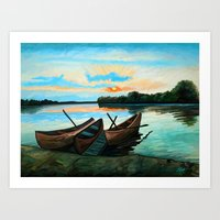 Boats At Sunset Art Print