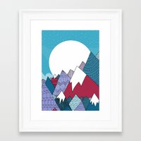 Blue Sky Mountains Framed Art Print