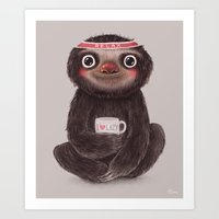 Sloth I♥lazy Art Print