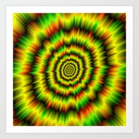 Colour Explosion in Yellow Green and Red Art Print