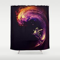 Space Surfing Shower Curtain