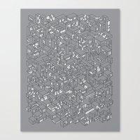 City Grid Night Print Canvas Print