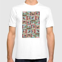 Collage Mix Paper Mens Fitted Tee White SMALL