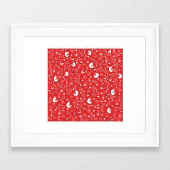 Red Bird Pattern Framed Art Print