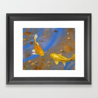 Pair Of Golden Koi Framed Art Print