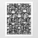 Victorian gothic lace skull pattern Art Print