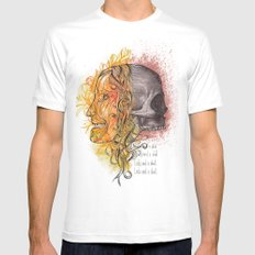 Lady and a skull SMALL White Mens Fitted Tee