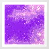 Purple Nebula (8bit) Art Print