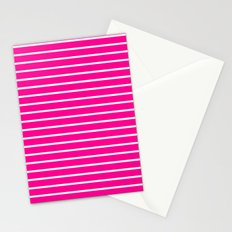 Horizontal Lines (White/Magenta) Stationery Cards